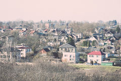Small town panoramic view from above in the autumn. Vintage. Stock Image