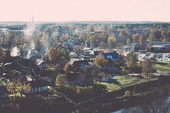 Small town panoramic view from above in the autumn. Vintage. Royalty Free Stock Photography