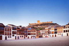 Small town of Penafiel with Castle and Old Square. Used for bull fights. Valladolid, Spain Royalty Free Stock Photos