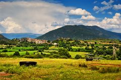 Small town of Peramea in Spanish Pyrenees Stock Images