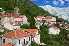 Small town Perast in Bay of Kotor Stock Images
