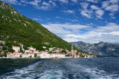 Small town Perast in Bay of Kotor Stock Image