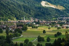 Small Town of Pinzolo - Trentino Italy. Cityscape of the small town of Pinzolo in Rendena valley. Trentino Alto Adige, Italy, Europe royalty free stock photo
