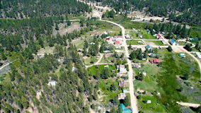 Small town of Placerville Idaho as seen from above stock footage