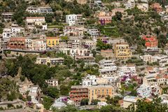 Small town of Positano along Amalfi coast with its many wonderful colors and terraced houses, Campania, Italy. Stock Photography