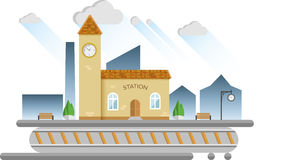 Small town railway station. Flat design  illustration Royalty Free Stock Images