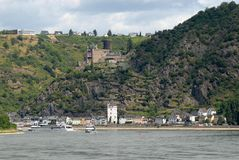 Small town on the Rhine valley in Germany Stock Image