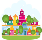 Small Town On The River. Cartoon illustration with rural landscape - the way between green rolling hills to small village. Vector file is layered EPS8, all Stock Photo
