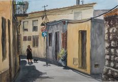 The small town in Sardinia. The street of the town in Sardinia in the midday heat. The drawing is made in watercolor on paper Stock Photography