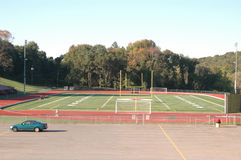 Small town school sports field Royalty Free Stock Photos
