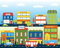 Small town with small and medium business. Set of buildings. Bakery, salon, market and pharmacies. Street with people watching. Vector. For brochures Stock Photo