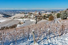 Small town and snowy vineyards in Italy royalty free stock photography