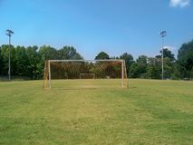 A  small  town  soccer  field. View  of  soccer  field  from  behind  nets Royalty Free Stock Images