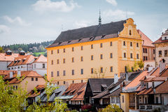 Small town in southern Bohemia. Old traditional house with red tiled roof. Czech town of Cesky Krumlov, southern Czech Republic. The modern form of the medieval Royalty Free Stock Photography