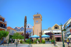 Small town square,Greece Stock Photo