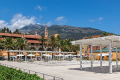 Small town square of Menton. Royalty Free Stock Image