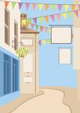 Small town street. Illustration of Small town street with copy space Royalty Free Stock Images