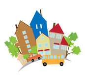Small town. The street of a small town with houses and cars Stock Image