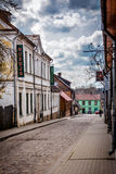 Small town street. A small town  street with a museum. Shot in Tukums, Latvia in fall Royalty Free Stock Photography