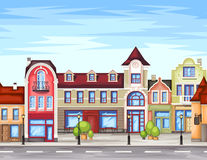 Small town street with shop. Vector illustration of stylized colorfull city landscape.Old town royalty free illustration