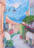Small town street view in Bellagio, Lake Como Italy Royalty Free Stock Photos