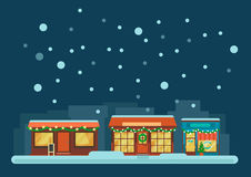 Small Town Street at Winter Night Royalty Free Stock Photo