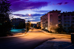 Small Town Streets At Evening Royalty Free Stock Photos