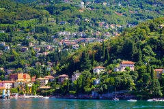 Small town surrounded by the large lake ,lake como Italy Stock Photography