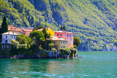 Small town surrounded by the large lake ,lake como Italy Stock Images