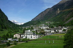 A small town in Switzerland. Along the Bernina Express Stock Image