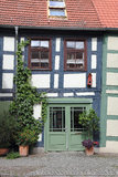 Crooked half-timbered house in the Uckermark Royalty Free Stock Photos