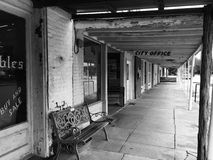Small Town Texas. Black and White image of a small Texas town - reminiscent of the Old West stock images