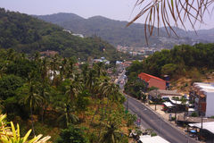 Small town with tiled roofs and part of palm jungle Stock Images