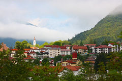 Small town Tolmin in the Alps Stock Image
