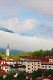 Small town Tolmin in the Alps Stock Photography