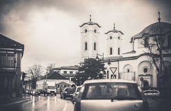 Small Town Traffic Jam And Church Stock Images