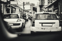 Small Town Traffic Jam Stock Photography