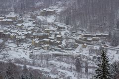 Small Town under snow stock image