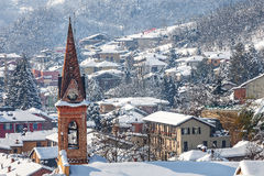 Small town under the snow. Stock Images