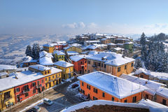 Small town under the snow. Diano D'Alba, Italy. Stock Photography