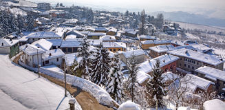 Small town under the snow. Diano D'Alba, Italy. Stock Photos