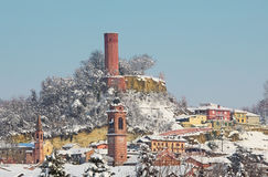 Small town under the snow in Italy. Stock Image
