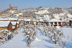 Small town under the snow. Italy. Royalty Free Stock Photography