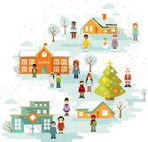Small town urban Christmas winter landscape Royalty Free Stock Photo