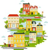 Small town urban landscape background in flat royalty free illustration