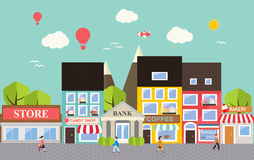 Small town urban landscape. In flat design style, vector illustra Stock Photography