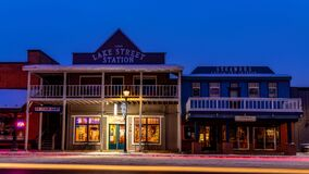 Free Small Town USA Old Building Fronts Winter Christmas Time In McCall Stock Photography - 211777332