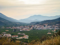Small town in a valley Royalty Free Stock Photos