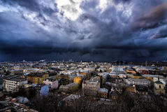 Small town. View of the city from the mountain before the storm Royalty Free Stock Photo