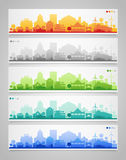 Small town and village silhouettes. Multicolored Royalty Free Stock Image